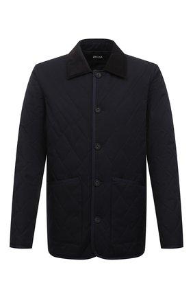 Мужская утепленная куртка Z ZEGNA темно-синего цвета, арт. VW037/ZZ121 | Фото 1 (Рукава: Длинные; Материал внешний: Синтетический материал; Длина (верхняя одежда): Короткие; Материал подклада: Синтетический материал; Кросс-КТ: Куртка; Стили: Кэжуэл; Мужское Кросс-КТ: утепленные куртки)