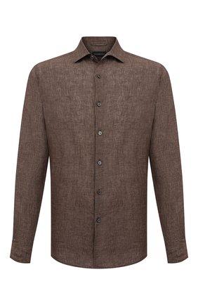 Мужская льняная рубашка ERMENEGILDO ZEGNA коричневого цвета, арт. UUX38/SRF5 | Фото 1