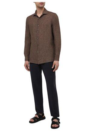 Мужская льняная рубашка ERMENEGILDO ZEGNA коричневого цвета, арт. UUX38/SRF5 | Фото 2