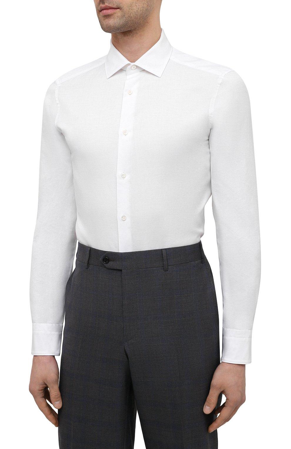 Мужская сорочка из хлопка и льна ERMENEGILDO ZEGNA белого цвета, арт. 901454/9MS0M2 | Фото 3