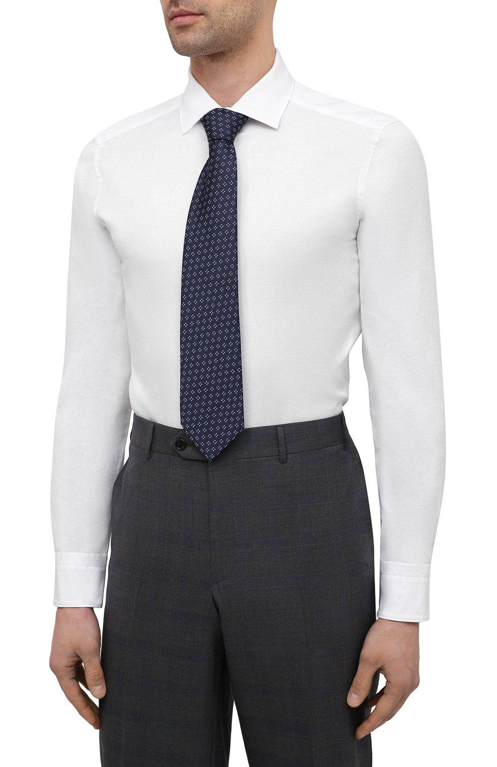 Мужская сорочка из хлопка и льна ERMENEGILDO ZEGNA белого цвета, арт. 901454/9MS0M2 | Фото 4