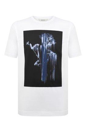 Мужская хлопковая футболка Z ZEGNA белого цвета, арт. VW372/ZZ650H | Фото 1 (Материал внешний: Хлопок; Рукава: Короткие; Длина (для топов): Стандартные; Принт: С принтом; Стили: Кэжуэл)
