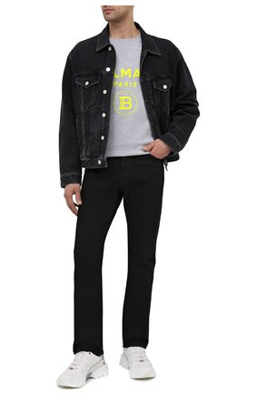 Мужской хлопковый свитшот BALMAIN серого цвета, арт. VH0JQ005/B093   Фото 2