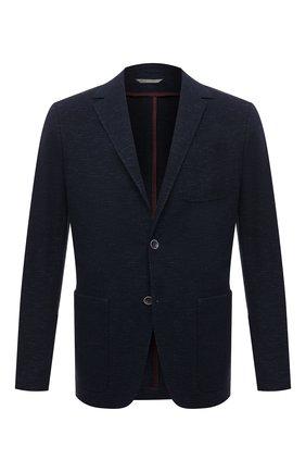 Мужской пиджак из хлопка и льна CANALI темно-синего цвета, арт. J0147/JJ01975   Фото 1