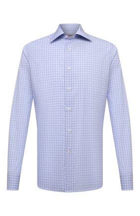 Мужская хлопковая сорочка CANALI голубого цвета, арт. NX05/GR01578 | Фото 1 (Материал внешний: Хлопок; Рукава: Длинные; Длина (для топов): Стандартные; Воротник: Акула; Случай: Формальный; Рубашки М: Slim Fit; Принт: Клетка; Стили: Классический; Манжеты: На пуговицах)