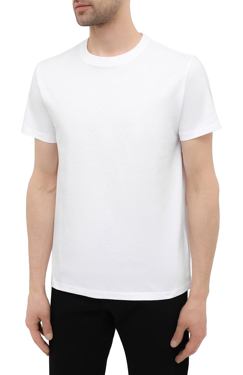 Мужская хлопковая футболка VALENTINO белого цвета, арт. VV0MG09T7DN   Фото 3 (Принт: Без принта; Рукава: Короткие; Длина (для топов): Стандартные; Материал внешний: Хлопок; Стили: Кэжуэл)
