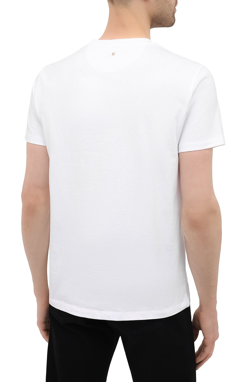 Мужская хлопковая футболка VALENTINO белого цвета, арт. VV0MG09T7DN   Фото 4 (Принт: Без принта; Рукава: Короткие; Длина (для топов): Стандартные; Материал внешний: Хлопок; Стили: Кэжуэл)