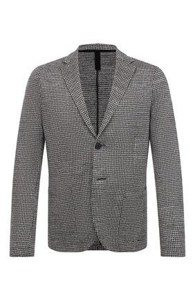 Мужской льняной пиджак HARRIS WHARF LONDON черно-белого цвета, арт. C8P22PEM | Фото 1