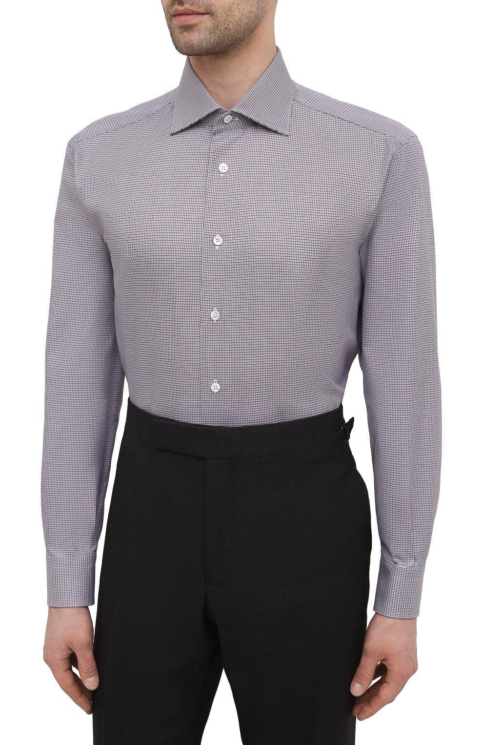Мужская хлопковая сорочка BRIONI бордового цвета, арт. RCA10L/P006M   Фото 3