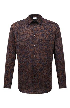 Мужская хлопковая рубашка BRIONI коричневого цвета, арт. SCCS0L/P0039 | Фото 1