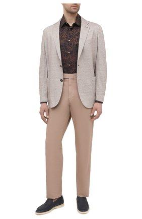 Мужская хлопковая рубашка BRIONI коричневого цвета, арт. SCCS0L/P0039 | Фото 2
