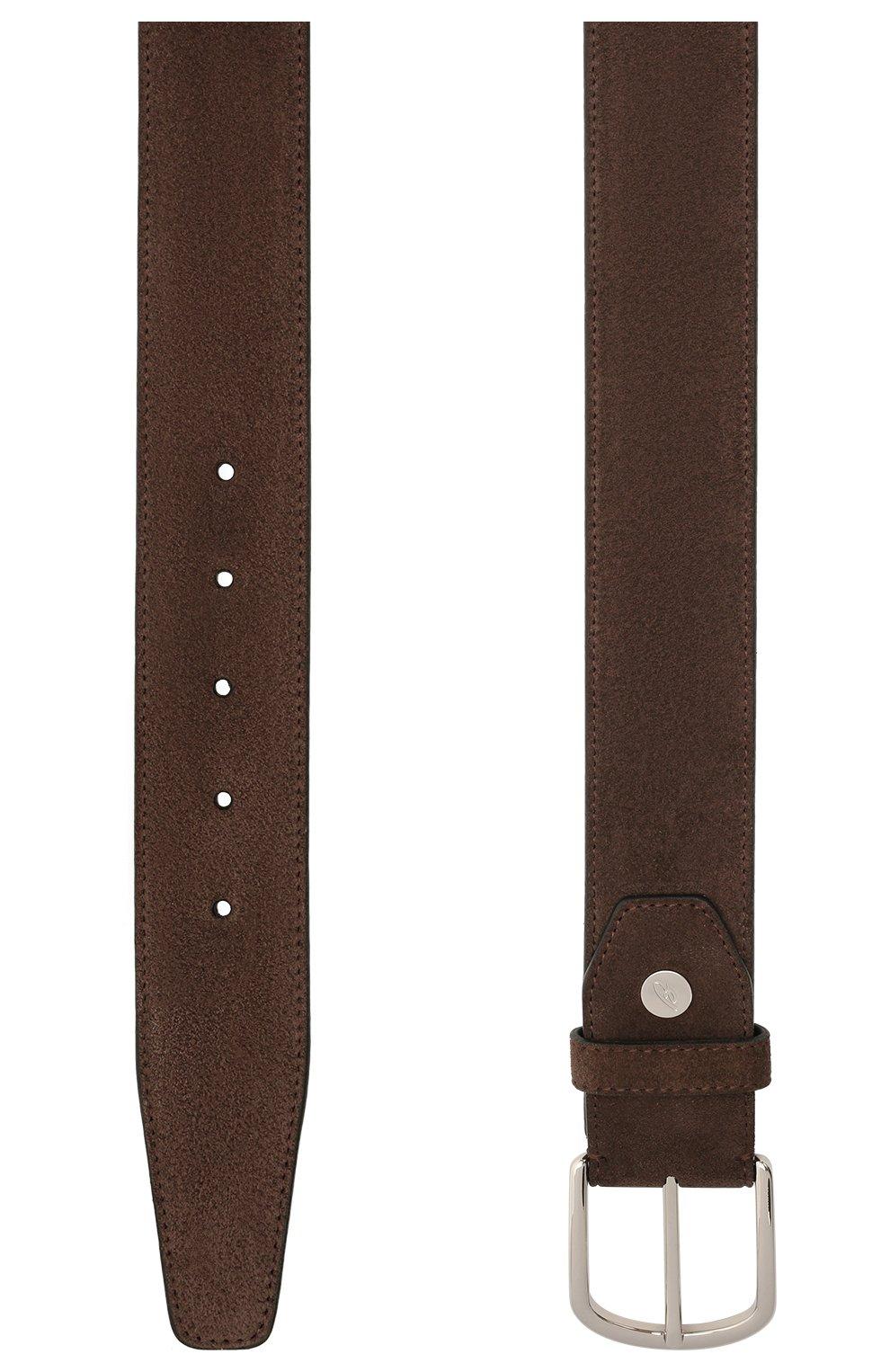 Мужской замшевый ремень BRIONI темно-коричневого цвета, арт. 0BAT0L/09722   Фото 2