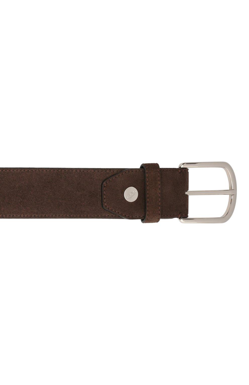 Мужской замшевый ремень BRIONI темно-коричневого цвета, арт. 0BAT0L/09722   Фото 3