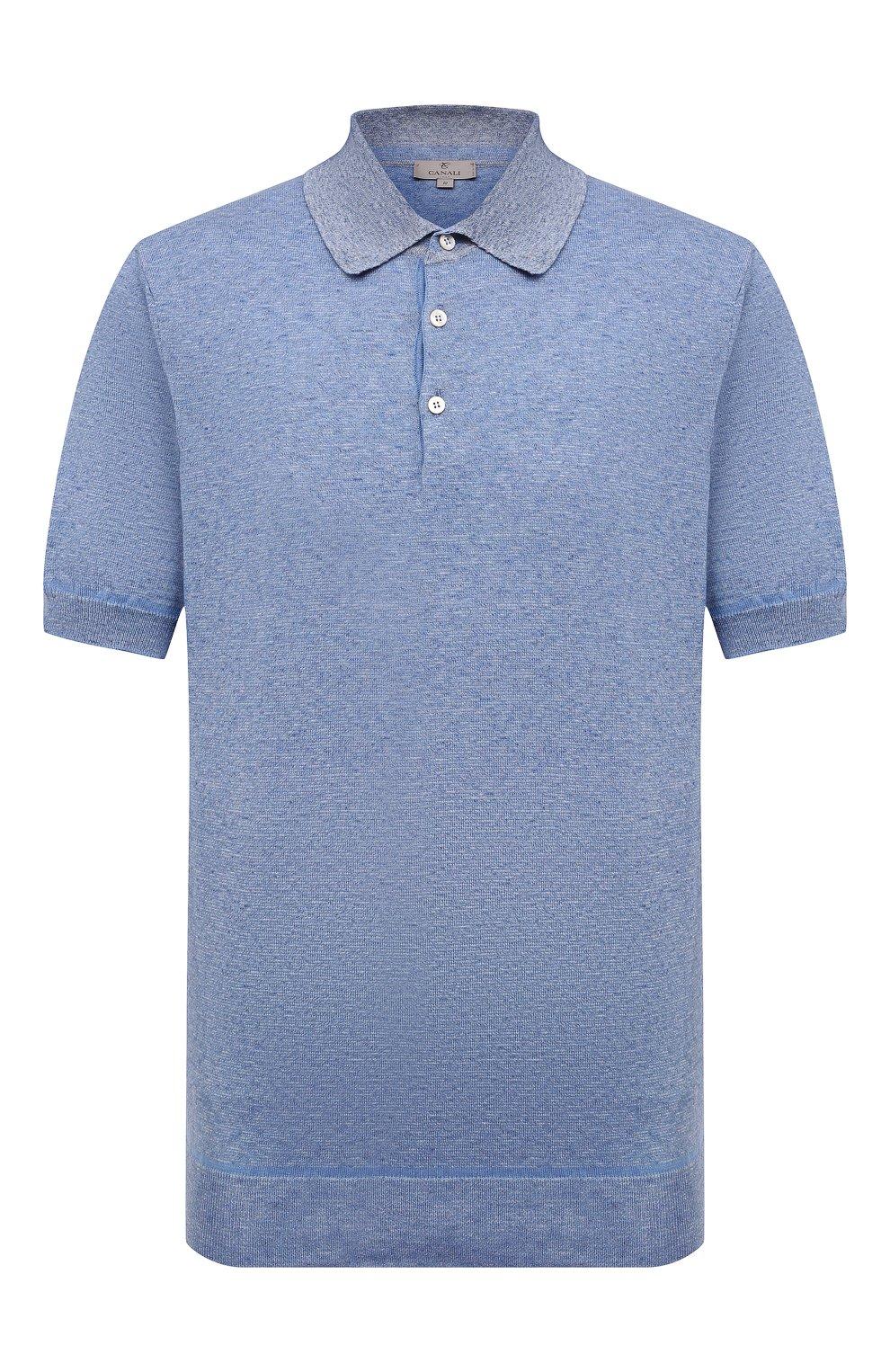 Мужское хлопковое поло CANALI голубого цвета, арт. C0780B/MK01140   Фото 1