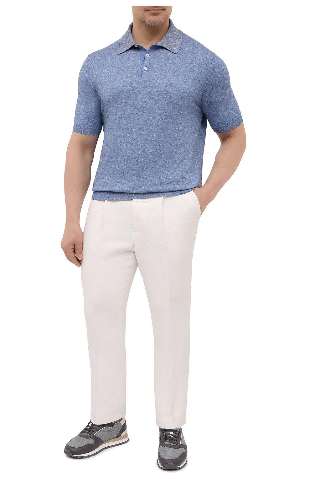 Мужское хлопковое поло CANALI голубого цвета, арт. C0780B/MK01140   Фото 2