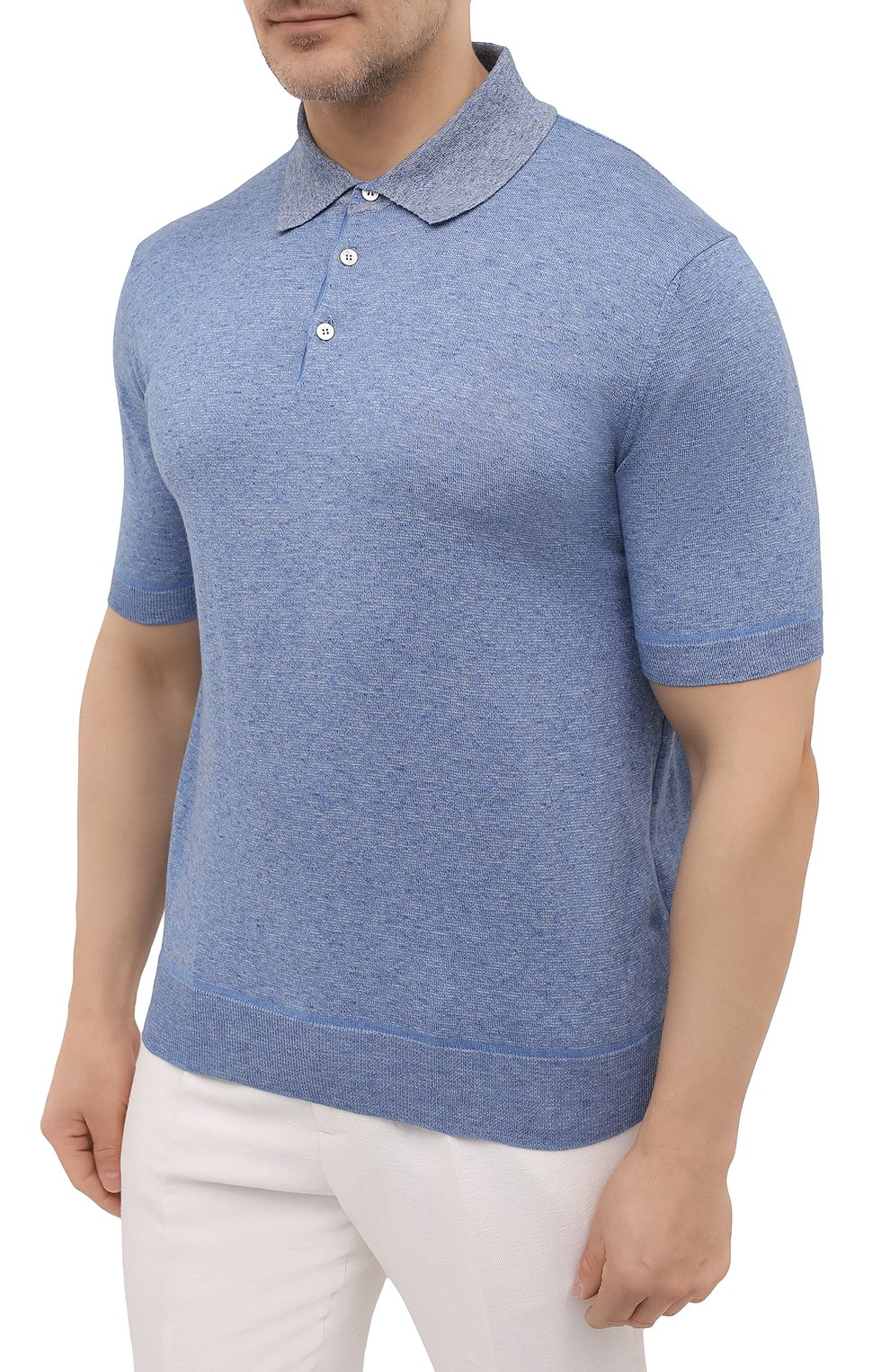 Мужское хлопковое поло CANALI голубого цвета, арт. C0780B/MK01140   Фото 3