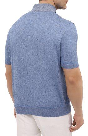 Мужское хлопковое поло CANALI голубого цвета, арт. C0780B/MK01140   Фото 4
