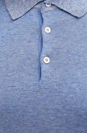 Мужское хлопковое поло CANALI голубого цвета, арт. C0780B/MK01140   Фото 5