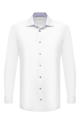 Мужская хлопковая сорочка ETON белого цвета, арт. 1000 03055 | Фото 1 (Материал внешний: Хлопок; Рукава: Длинные; Длина (для топов): Стандартные; Принт: Однотонные; Случай: Формальный; Стили: Классический; Воротник: Акула; Рубашки М: Regular Fit; Манжеты: На пуговицах)