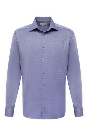 Мужская хлопковая сорочка ETON синего цвета, арт. 1000 03001 | Фото 1 (Материал внешний: Хлопок; Рукава: Длинные; Длина (для топов): Стандартные; Случай: Формальный; Стили: Классический; Воротник: Акула; Рубашки М: Regular Fit; Принт: С принтом; Манжеты: На пуговицах)