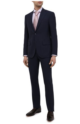 Мужская хлопковая сорочка ETON сиреневого цвета, арт. 1000 02058 | Фото 2 (Материал внешний: Хлопок; Рукава: Длинные; Длина (для топов): Стандартные; Случай: Формальный; Стили: Классический; Воротник: Акула; Рубашки М: Regular Fit; Принт: Полоска; Манжеты: На пуговицах)