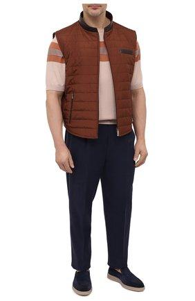 Мужской жилет с отделкой из кожи аллигатора ZILLI коричневого цвета, арт. MAV-XIT00-30036/0004/AMIS/62-70 | Фото 2 (Материал подклада: Шелк; Материал внешний: Шелк; Длина (верхняя одежда): Короткие; Кросс-КТ: Куртка; Стили: Кэжуэл; Big sizes: Big Sizes)