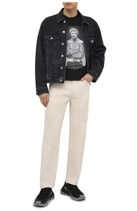 Мужская хлопковая футболка NEIL BARRETT черного цвета, арт. PBJT914S/Q533S | Фото 2