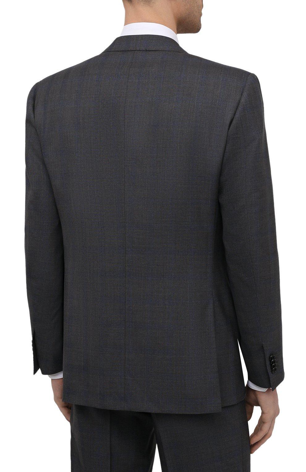 Мужской шерстяной костюм CORNELIANI темно-серого цвета, арт. 877315-1117220/92 Q1   Фото 3 (Материал внешний: Шерсть; Рукава: Длинные; Костюмы М: Однобортный; Стили: Классический; Материал подклада: Купро)
