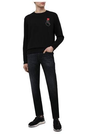 Мужской хлопковый свитшот HUGO черного цвета, арт. 50450457 | Фото 2 (Рукава: Длинные; Материал внешний: Хлопок; Длина (для топов): Стандартные; Принт: С принтом; Мужское Кросс-КТ: свитшот-одежда; Стили: Кэжуэл)