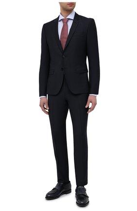 Мужские шерстяные брюки HUGO темно-синего цвета, арт. 50450697   Фото 2 (Материал внешний: Шерсть; Длина (брюки, джинсы): Стандартные; Случай: Формальный; Стили: Классический)