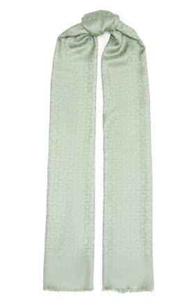Женский шарф из шелка и шерсти SALVATORE FERRAGAMO светло-зеленого цвета, арт. Z-0743216   Фото 1