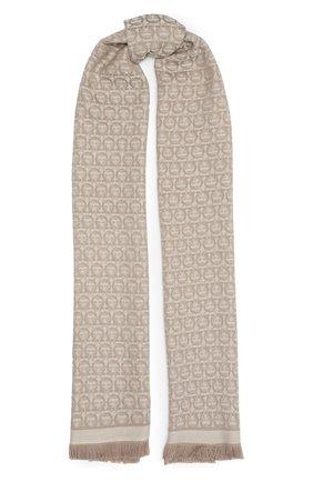 Женский шерстяной шарф SALVATORE FERRAGAMO бежевого цвета, арт. Z-0736640   Фото 1