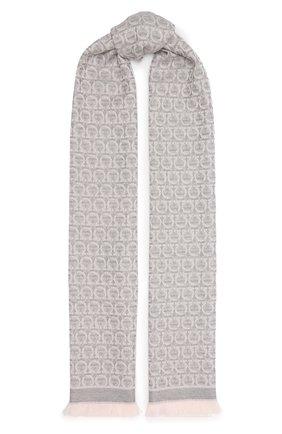 Женский шерстяной шарф SALVATORE FERRAGAMO серого цвета, арт. Z-0736641   Фото 1