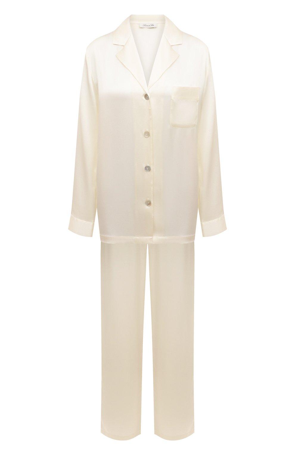Женская шелковая пижама LUNA DI SETA белого цвета, арт. VLST08007 | Фото 1 (Материал внешний: Шелк; Рукава: Длинные; Длина Ж (юбки, платья, шорты): Мини; Длина (брюки, джинсы): Стандартные; Длина (для топов): Стандартные)
