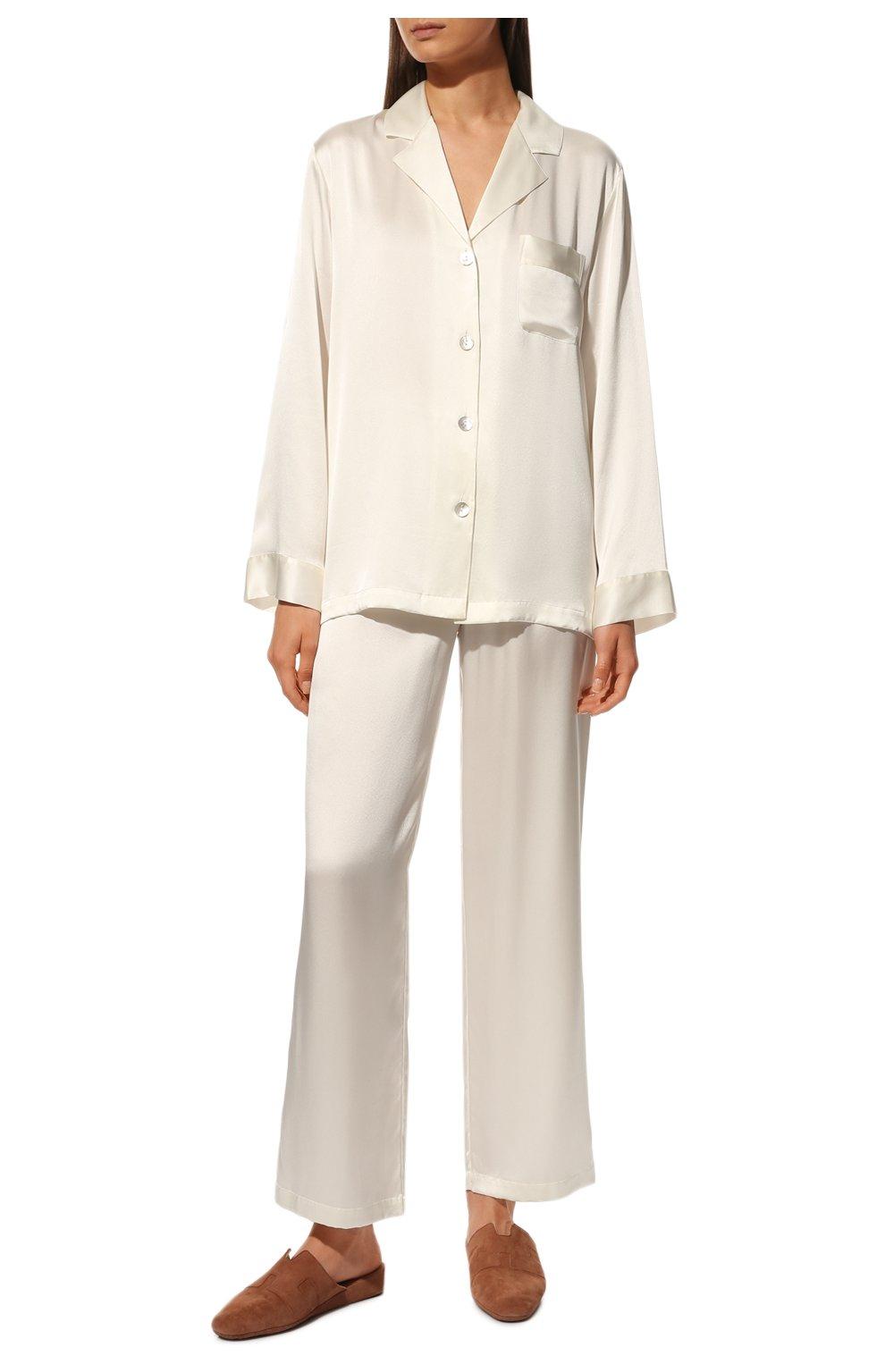 Женская шелковая пижама LUNA DI SETA белого цвета, арт. VLST08007 | Фото 2 (Материал внешний: Шелк; Рукава: Длинные; Длина Ж (юбки, платья, шорты): Мини; Длина (брюки, джинсы): Стандартные; Длина (для топов): Стандартные)