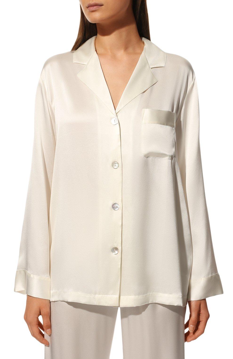 Женская шелковая пижама LUNA DI SETA белого цвета, арт. VLST08007 | Фото 3 (Материал внешний: Шелк; Рукава: Длинные; Длина Ж (юбки, платья, шорты): Мини; Длина (брюки, джинсы): Стандартные; Длина (для топов): Стандартные)