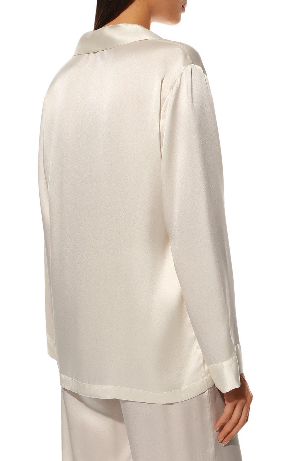 Женская шелковая пижама LUNA DI SETA белого цвета, арт. VLST08007 | Фото 4 (Материал внешний: Шелк; Рукава: Длинные; Длина Ж (юбки, платья, шорты): Мини; Длина (брюки, джинсы): Стандартные; Длина (для топов): Стандартные)