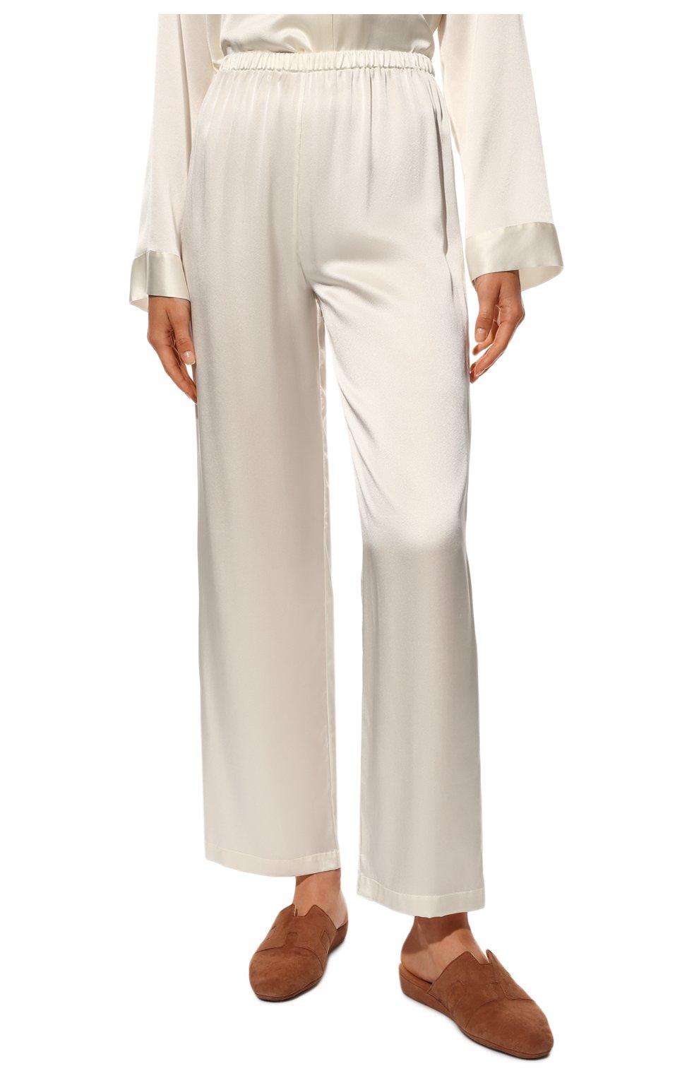 Женская шелковая пижама LUNA DI SETA белого цвета, арт. VLST08007 | Фото 5 (Материал внешний: Шелк; Рукава: Длинные; Длина Ж (юбки, платья, шорты): Мини; Длина (брюки, джинсы): Стандартные; Длина (для топов): Стандартные)