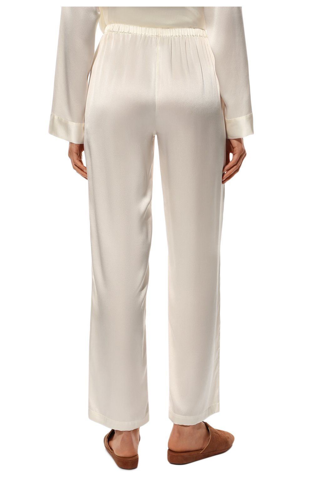 Женская шелковая пижама LUNA DI SETA белого цвета, арт. VLST08007 | Фото 6 (Материал внешний: Шелк; Рукава: Длинные; Длина Ж (юбки, платья, шорты): Мини; Длина (брюки, джинсы): Стандартные; Длина (для топов): Стандартные)
