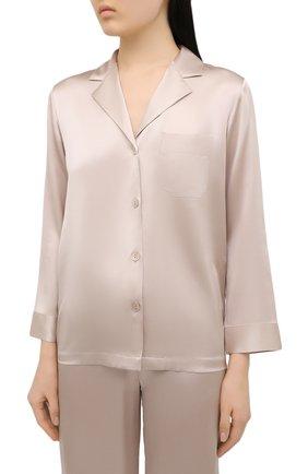 Женская шелковая пижама LUNA DI SETA бежевого цвета, арт. VLST08007 | Фото 2