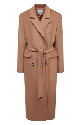 Женское шерстяное пальто LESYANEBO бежевого цвета, арт. FW20/H-405-4 | Фото 1 (Материал внешний: Шерсть; Рукава: Длинные; Длина (верхняя одежда): Длинные; 1-2-бортные: Двубортные; Стили: Кэжуэл)