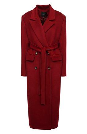 Женское шерстяное пальто LESYANEBO бордового цвета, арт. FW20/H-405-6 | Фото 1 (Рукава: Длинные; Материал внешний: Шерсть; Длина (верхняя одежда): Длинные; 1-2-бортные: Двубортные; Стили: Кэжуэл)