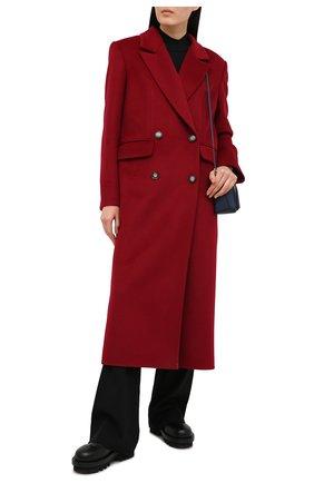 Женское шерстяное пальто LESYANEBO бордового цвета, арт. FW20/H-405-6 | Фото 2 (Рукава: Длинные; Материал внешний: Шерсть; Длина (верхняя одежда): Длинные; 1-2-бортные: Двубортные; Стили: Кэжуэл)
