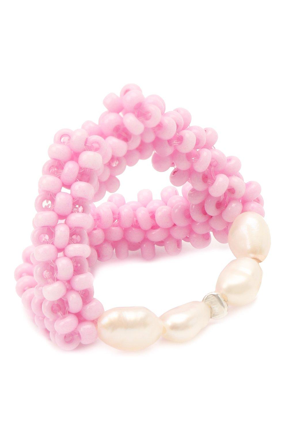 Женское кольцо губы HIAYNDERFYT розового цвета, арт. 1401.122   Фото 2 (Материал: Стекло)