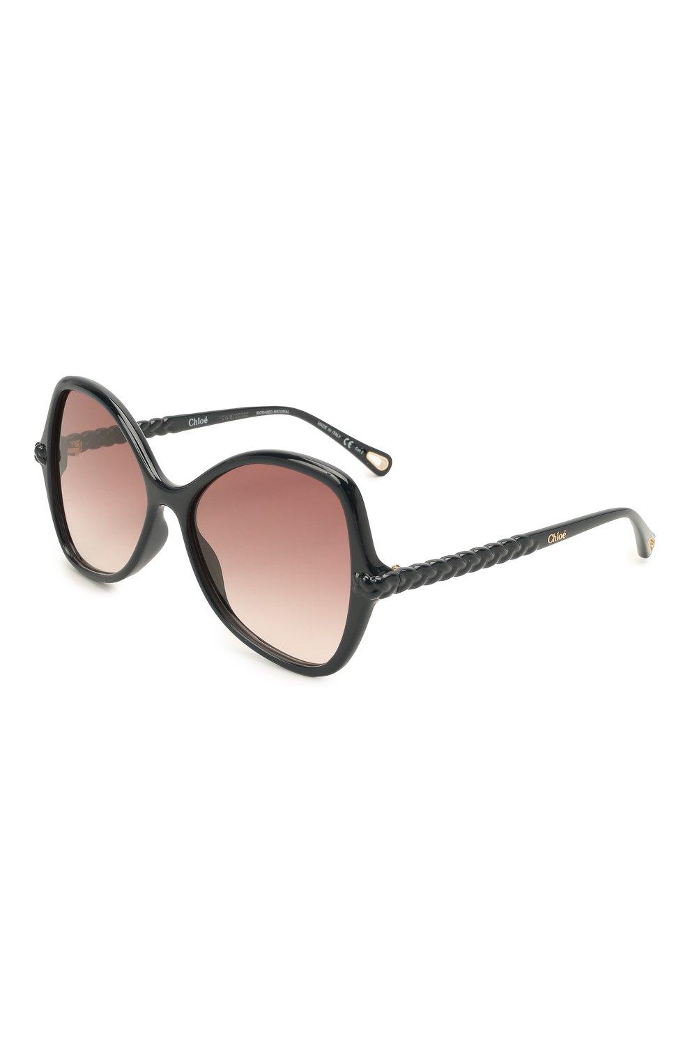 Женские солнцезащитные очки CHLOÉ черного цвета, арт. CH0001S | Фото 1