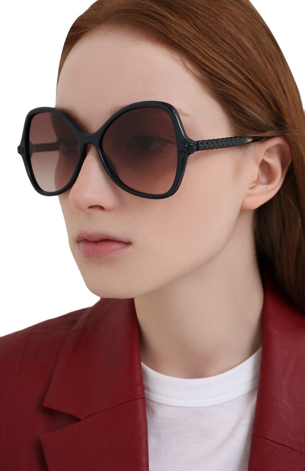 Женские солнцезащитные очки CHLOÉ черного цвета, арт. CH0001S | Фото 2