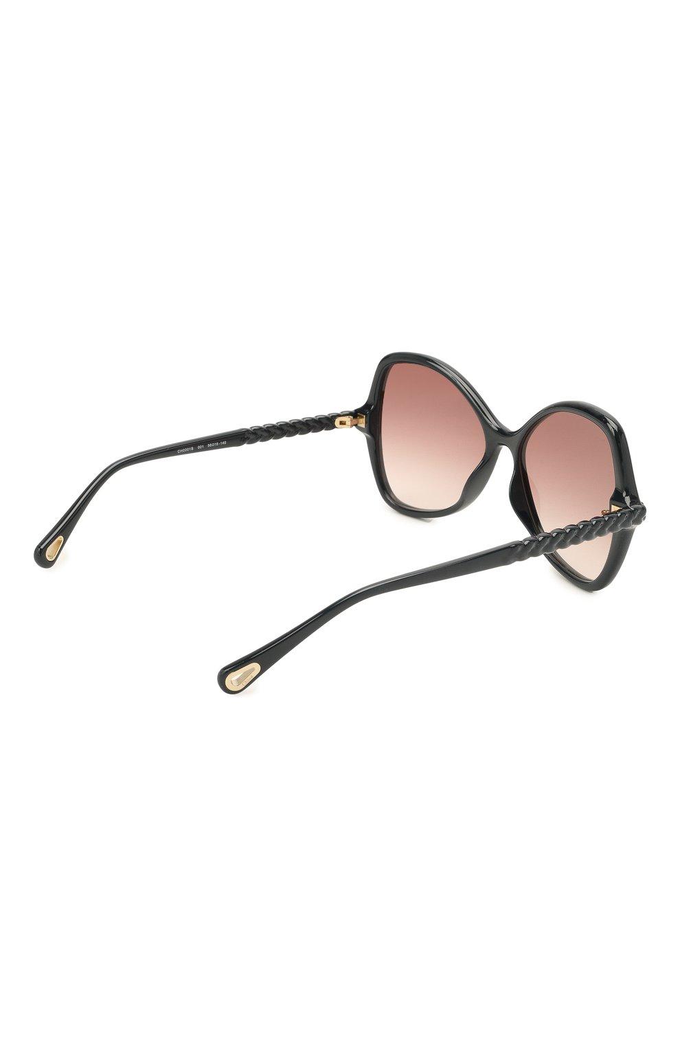 Женские солнцезащитные очки CHLOÉ черного цвета, арт. CH0001S | Фото 4