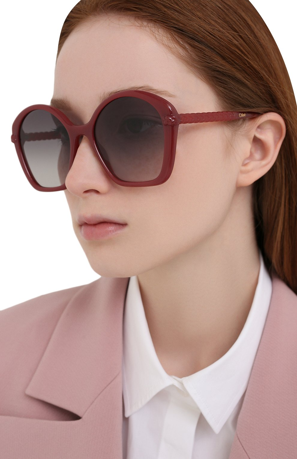 Женские солнцезащитные очки CHLOÉ красного цвета, арт. CH0003S | Фото 2