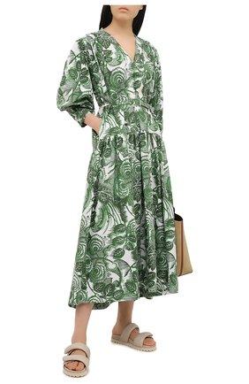 Женское хлопковое платье TAK.ORI зеленого цвета, арт. DRT82022C0100SS21 | Фото 2