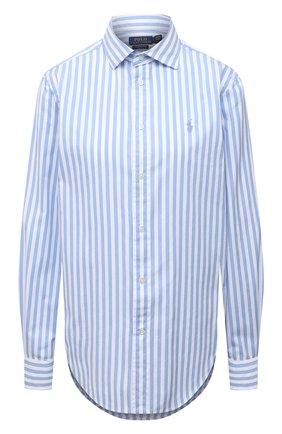 Женская хлопковая рубашка POLO RALPH LAUREN светло-голубого цвета, арт. 211784161 | Фото 1